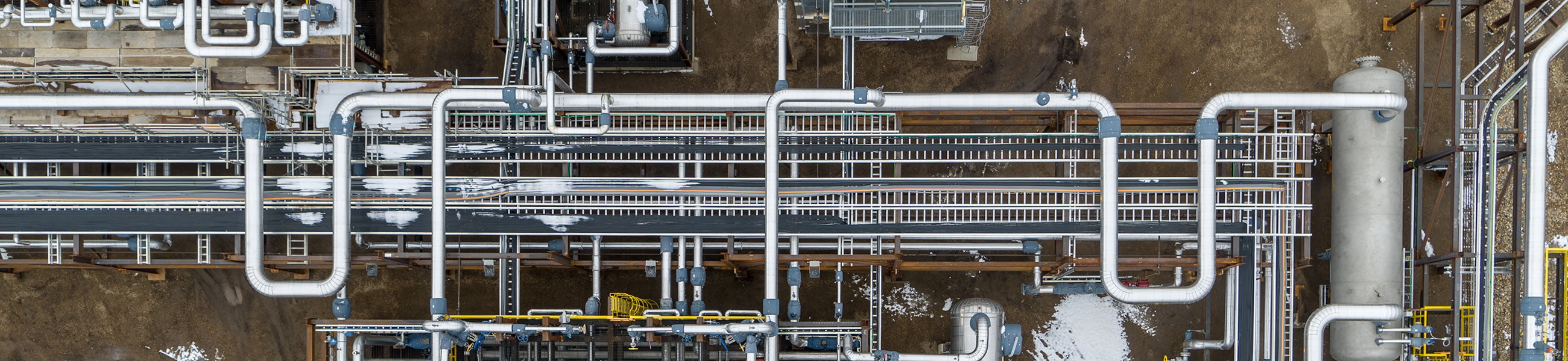 overhead shot of industrial piping