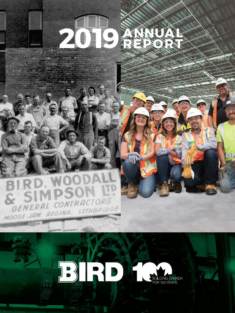 annual report cover has two images of employees, one from the 1920s and one that is current