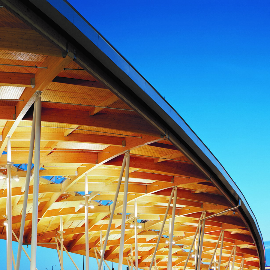 Wooden Roof Structure at Peace Bridge